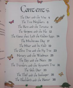 Aesop's Fables - The Goose That Laid The Golden Eggs And Other Aesop's Fables - Contents Page