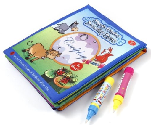 Reusable Magic water colouring book Animals Blue