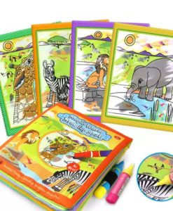 Reusable Magic Water Colouring Book Animals - Orange - All Pages