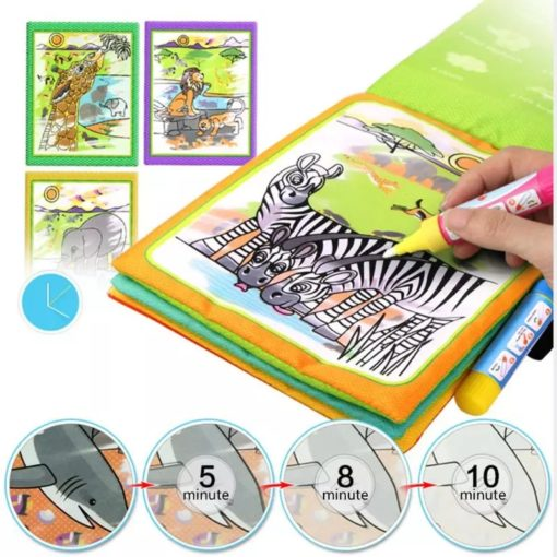 Reusable Magic Water Colouring Book Animals - Orange - Inside1