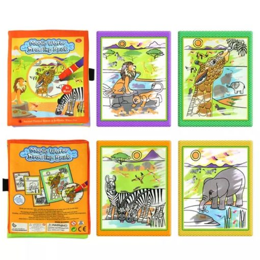 Reusable Magic Water Colouring Book Animals - Orange - All Pages2