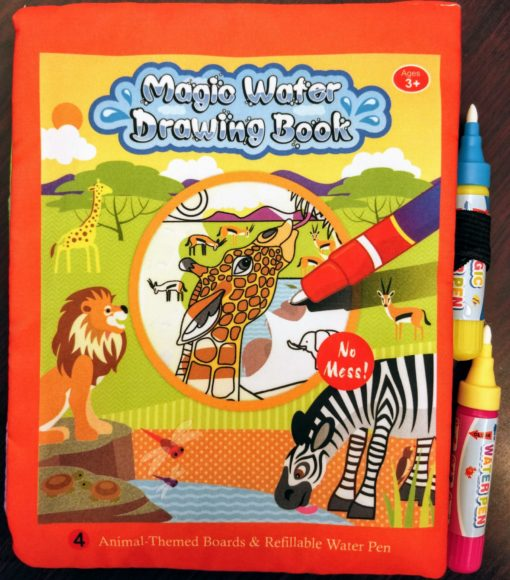Reusable Magic water colouring book Animals Orange