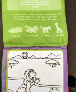 Reusable Magic Water Colouring Book Animals - Orange - Inside2