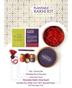 Eco-friendly Plantable Seed Rakhi Kit Classic Box contents