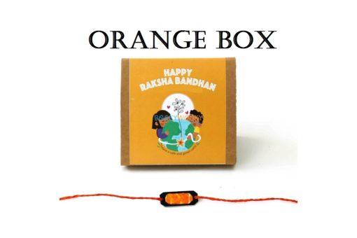 Eco-friendly Plantable Seed Rakhi kit orange box with sun rakhi