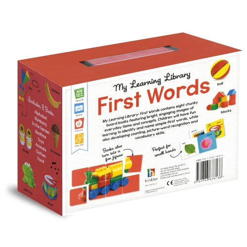 Hinkler Building Blocks My Little Library - First Words - Back of the box - 9781743678138