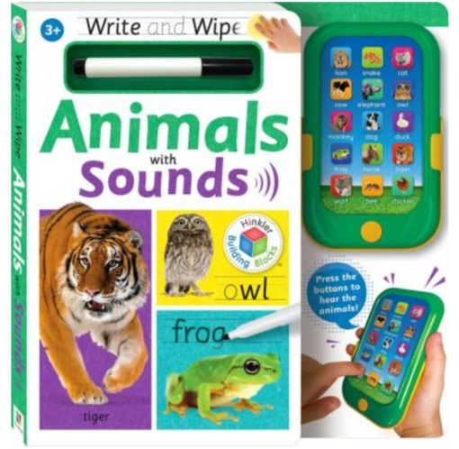 Hinkler Building Blocks Write and Wipe Animals with Sounds Front Cover with device