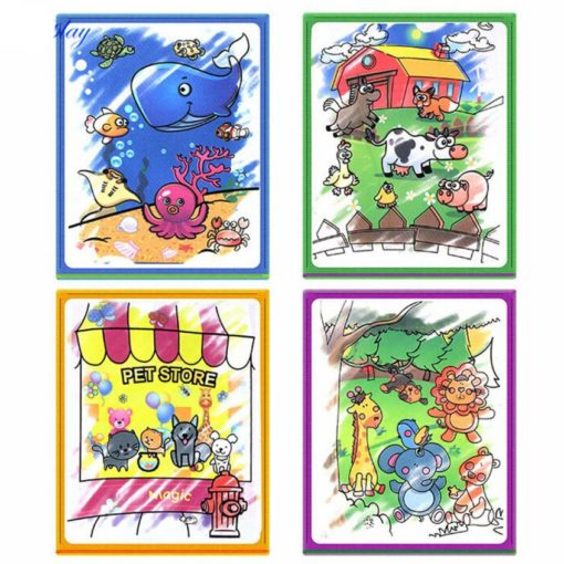 Reusable Magic water colouring book Animals Black Inside (4)
