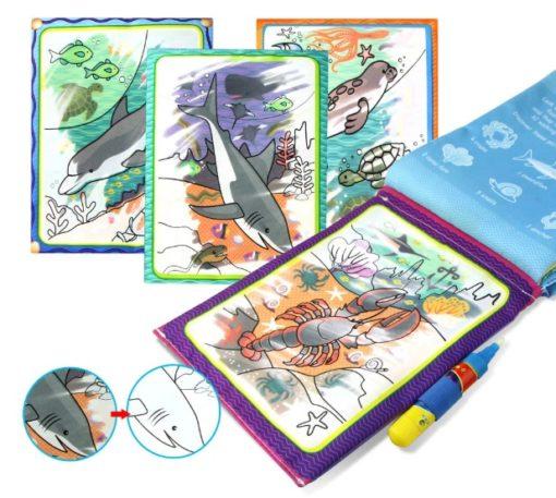 Reusable Magic water colouring book Marine Life Inside1