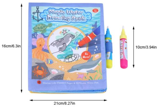 Reusable Magic water colouring book Marine Life2 with size