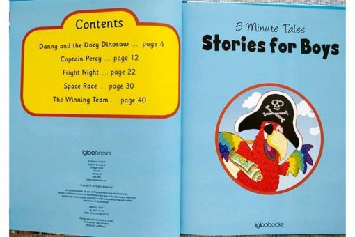 Five Minute Tales Stories for Boys Igloo Books 9780857802705 Index Contents Page