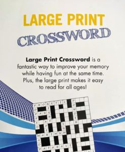 Puzzle Time Large Print Crossword Blue backside
