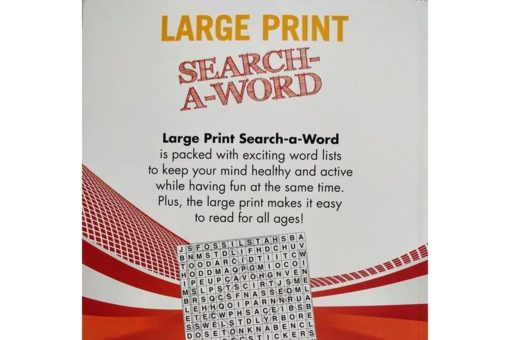 Puzzle Time Large Print Search a Word Red backside