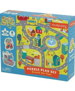 Around the Town Puzzle Play Set 36 + 8 Pieces by Mudpuppy 9780735347687 Box Packing