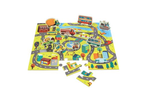 Around the Town Puzzle Play Set 36 + 8 Pieces by Mudpuppy 9780735347687 Picture with pieces