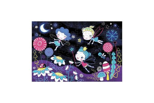 Fairies Glow in the Dark Puzzle 100 pieces Mudpuppy 9780735347472 full inside puzzle