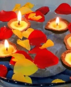 Organic Diwali Diyas floating