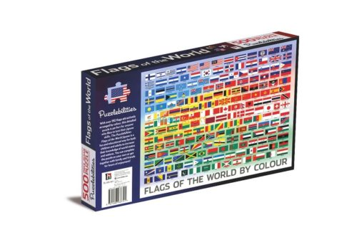 500 Piece Jigsaw Puzzle Flags of the World back cover