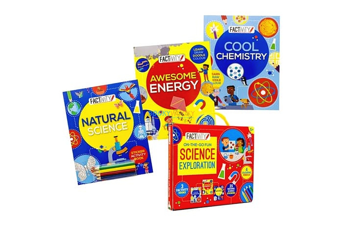 Factivity Space 4-In-1 Activity Pack Book Hardcover Puzzle Colored Pencils