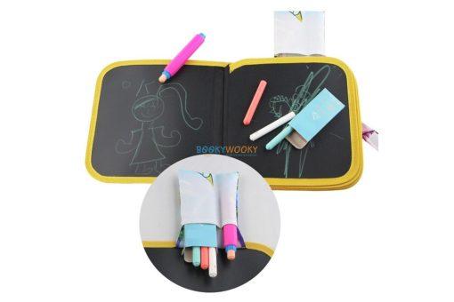 Chalkboard book inside with chalks